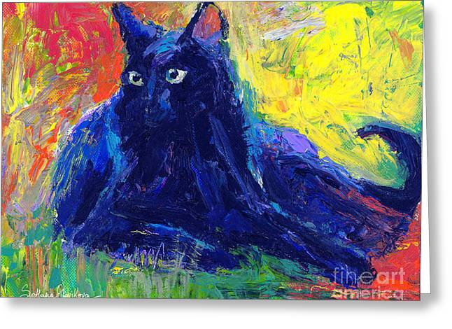 Blue Cat Greeting Cards - Impasto Black Cat painting Greeting Card by Svetlana Novikova