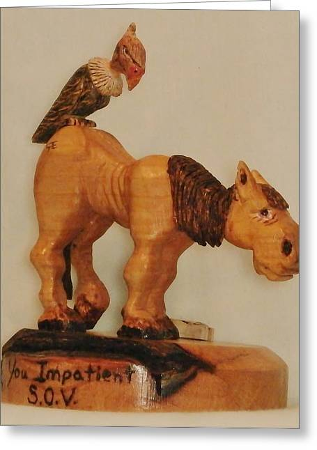 Woodcarving Sculptures Greeting Cards - Impatient Vulture Greeting Card by Russell Ellingsworth