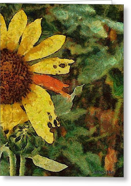 Sun Flower Greeting Cards - Imperfect Beauty Greeting Card by Jeff Kolker