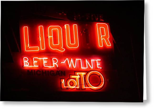 Photography Of Liquor Greeting Cards - Imperfection in Neon Greeting Card by Guy Ricketts