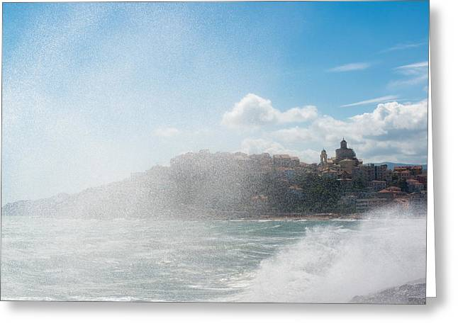 Imperia Greeting Cards - Imperia seen through spray Greeting Card by Frank Gaertner