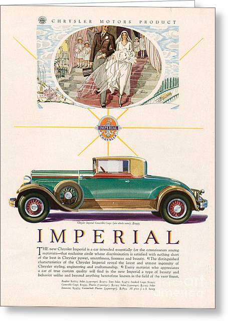 American Automobiles Greeting Cards - Imperial Chrysler 1929 1920s Usa Cc Greeting Card by The Advertising Archives
