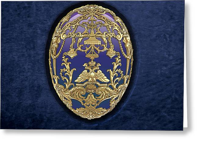 Treasure Trove Greeting Cards - Imperial Faberge Eggs - Tsarevich Egg on Blue Velvet Greeting Card by Serge Averbukh