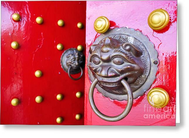 William Voon Greeting Cards - Imperial Lion Door Knocker Greeting Card by William Voon