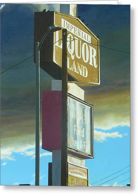 Photorealism Greeting Cards - Imperial Liquor Land Greeting Card by Michael Ward