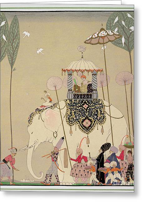 Processions Greeting Cards - Imperial Procession Greeting Card by Georges Barbier