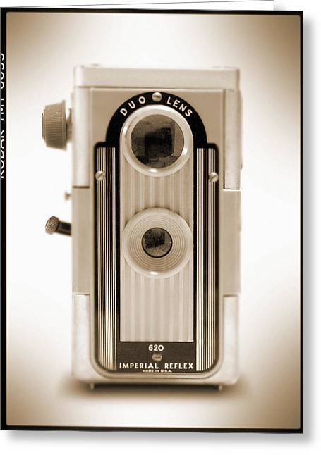 Duo Tone Digital Art Greeting Cards - Imperial Reflex Camera Greeting Card by Mike McGlothlen