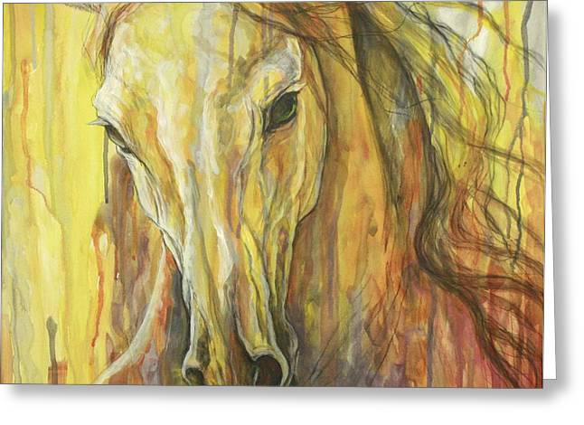 Horse Artist Greeting Cards - Impetus Greeting Card by Silvana Gabudean