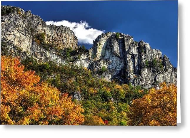 Imposing Seneca Rocks - Seneca Rocks National Recreation Area Wv Autumn Mid-afternoon Greeting Card by Michael Mazaika