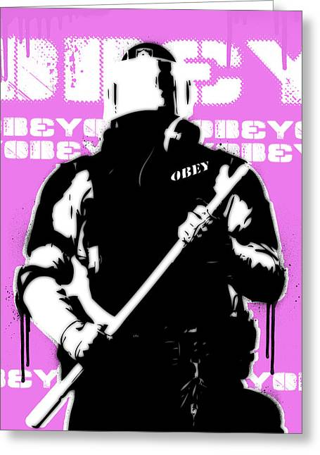 Obey Paintings Greeting Cards - Impotence Version 4 Greeting Card by Allan Oberholtzer
