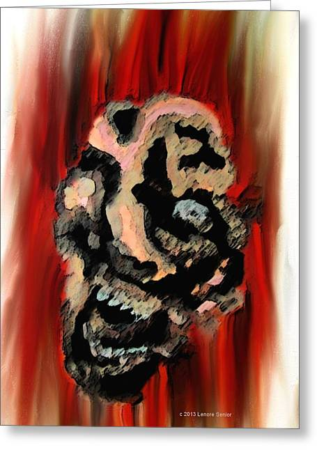 Despair Mixed Media Greeting Cards - Impotent Rage Greeting Card by Lenore Senior