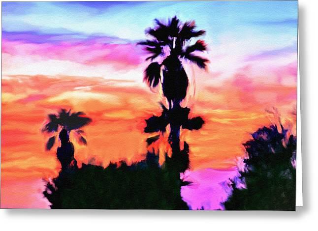 Nadine Greeting Cards - Impression Desert Sunset V2 Greeting Card by  Bob and Nadine Johnston