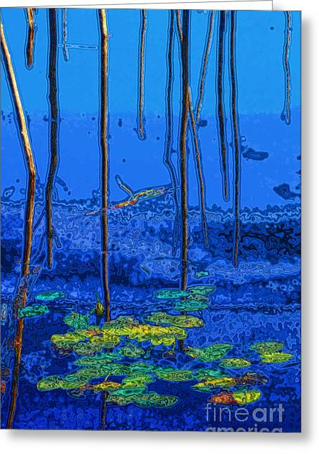 Reflections Digital Art Greeting Cards - Impression of Autumn Pond Greeting Card by Charline Xia