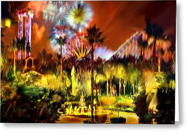 Essential Paintings Greeting Cards - Impression of Knotts Berry  Farm at Night Greeting Card by  Bob and Nadine Johnston