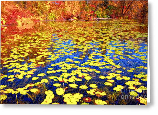 Impression Of Waterlily Pond Greeting Card by Charline Xia