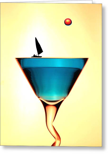 Glass Wall Greeting Cards - Impression Sunrise Sailing on the cups little people on food Greeting Card by Paul Ge