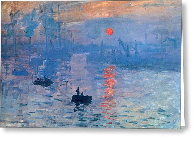Impression Sunrise Soleil Levant Greeting Card by L Brown