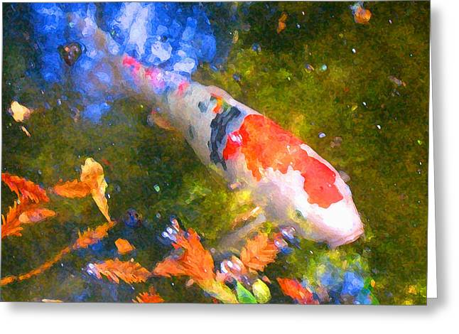 Fish Digital Greeting Cards - Impressionism  Koi 2 Greeting Card by Amy Vangsgard