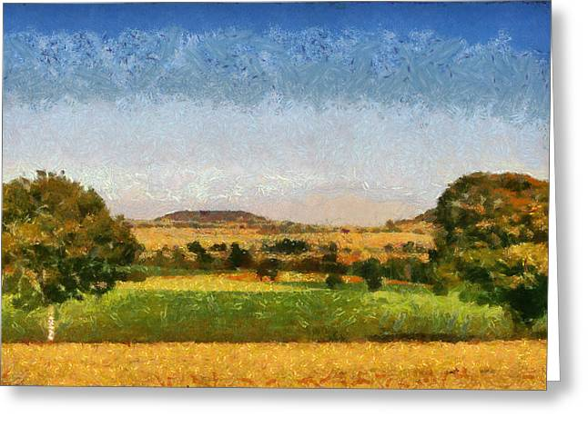 Ferme Greeting Cards - Impressionist Burgundy  Greeting Card by Nomad Art And  Design