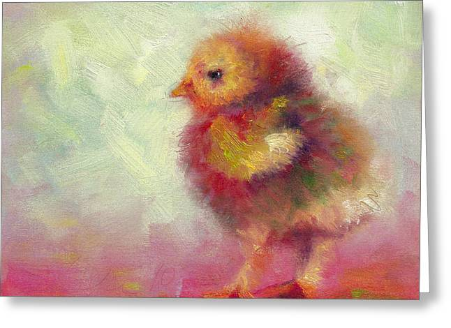 Fluffy Chicks Greeting Cards - Impressionist Chick Greeting Card by Talya Johnson