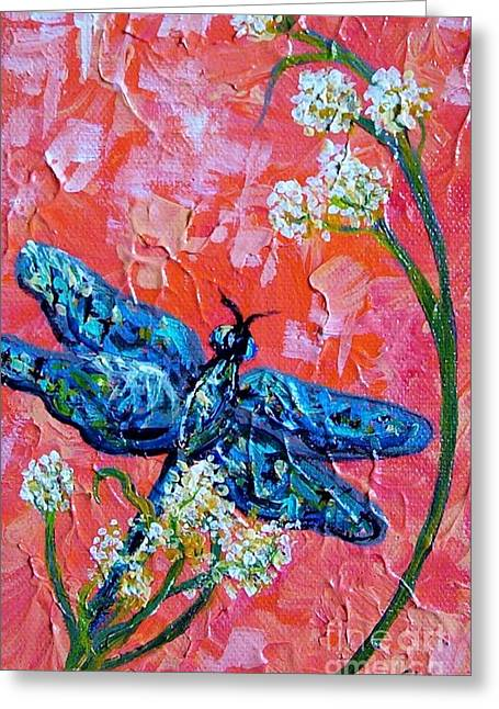 Abstract Flowers Greeting Cards - Impressionist Dragonfly Greeting Card by Eloise Schneider