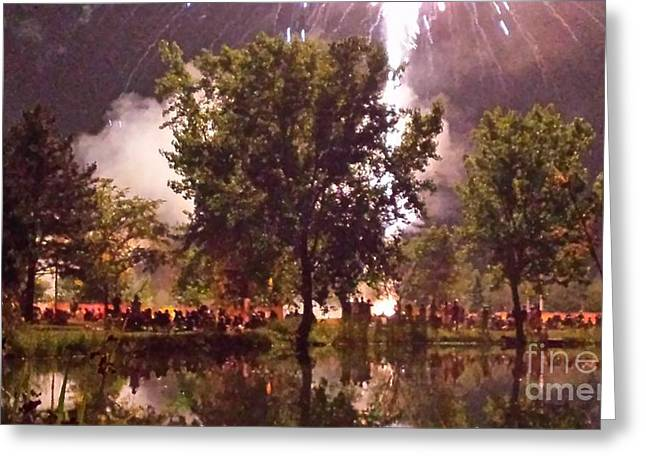 Hilliard Greeting Cards - Impressionist Fireworks Greeting Card by Paddy Shaffer