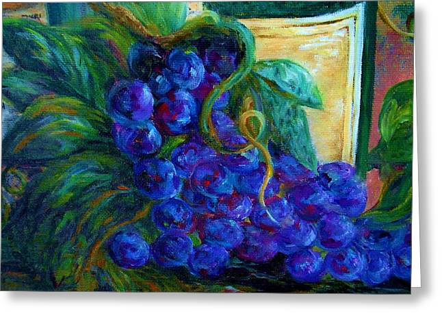 Fruit Greeting Cards - Impressionist Grapes and Wine Greeting Card by Eloise Schneider
