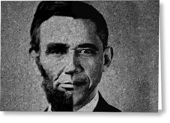 Impressionist Interpretation of Lincoln Becoming Obama Greeting Card by Michael Braham