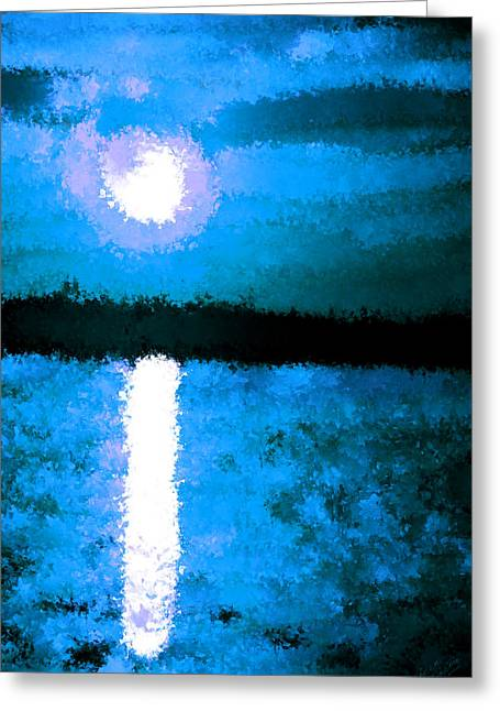 Planetoid Paintings Greeting Cards - Impressionist Moonlight Greeting Card by Bruce Nutting