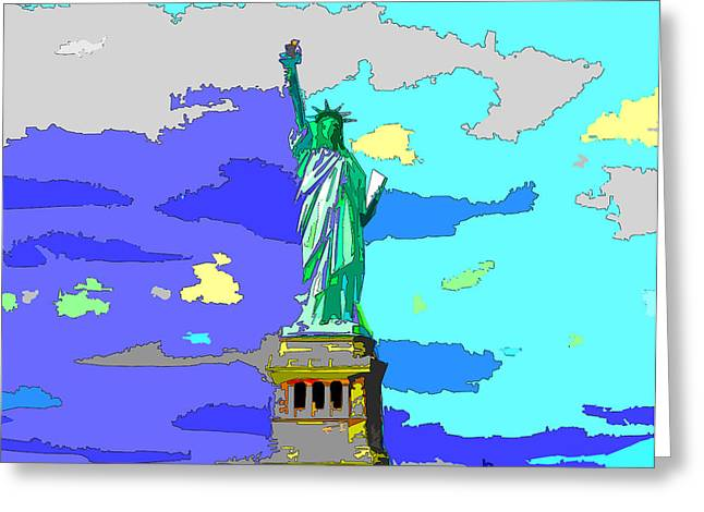 Libertas Greeting Cards - Impressionist Statue of Liberty Greeting Card by C H Apperson