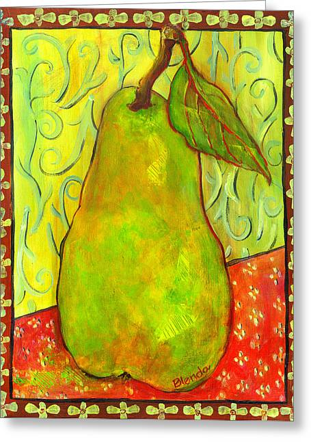 Pear Prints Greeting Cards - Impressionist Style Pear Greeting Card by Blenda Studio