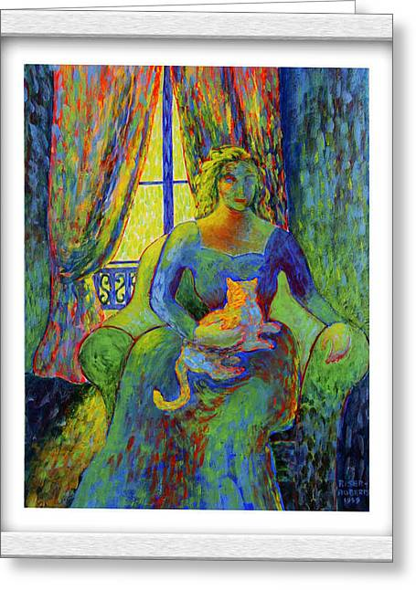Best Sellers -  - Pictures Of Cats Greeting Cards - Impressionist Woman and Cat Greeting Card by Eve Riser Roberts