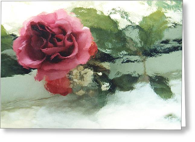 Pink Flower Prints Greeting Cards - Impressionistic Abstract Green and Pink Rose Greeting Card by Kathy Fornal