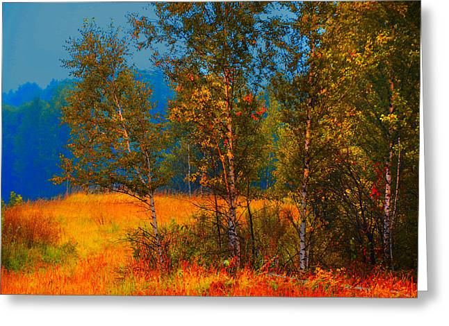 Autumn Scenes Greeting Cards - Impressionistic Autumn Greeting Card by Jenny Rainbow