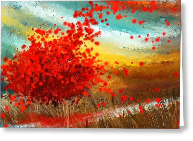 Red Maple Trees Greeting Cards - Impressionistic Beauty- Autumn Impressionist Greeting Card by Lourry Legarde
