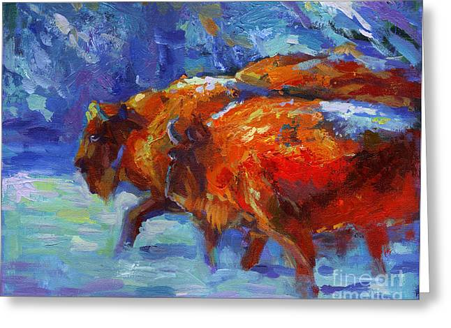 Impressionistic Buffalo Painting Greeting Card by Svetlana Novikova