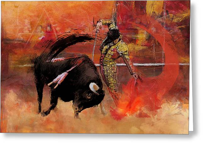 Bull Riding Greeting Cards - Impressionistic Bullfighting Greeting Card by Corporate Art Task Force