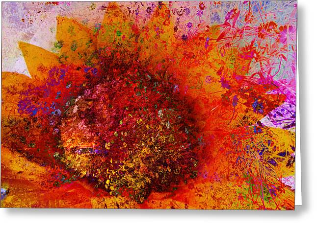Impressionistic Colorful Flower  Greeting Card by Ann Powell