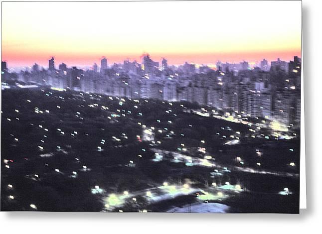 Wollman Rink Greeting Cards - Impressionistic Eastside Sunrise NYC Greeting Card by Tom Wurl
