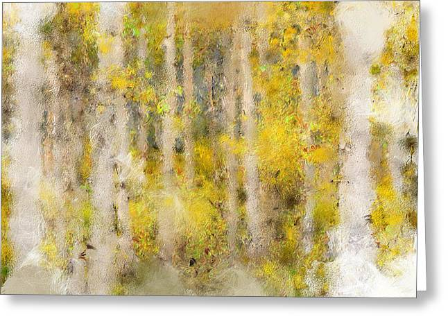 Fall Photos Mixed Media Greeting Cards - Impressionistic Fall Aspens Greeting Card by Renee Skiba
