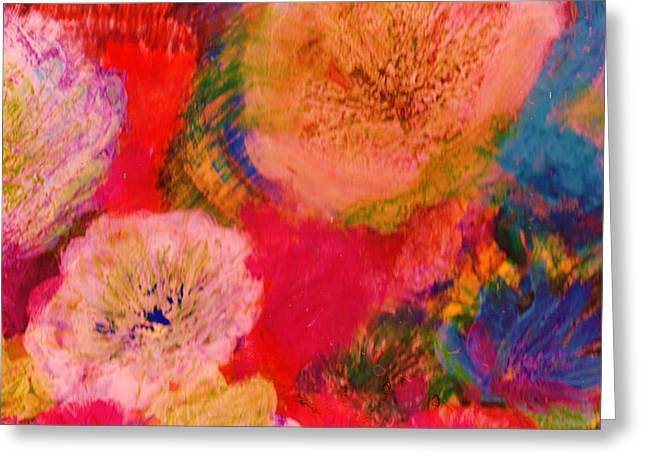 Impressionistic Flowers From The Imagination Greeting Card by Anne-Elizabeth Whiteway