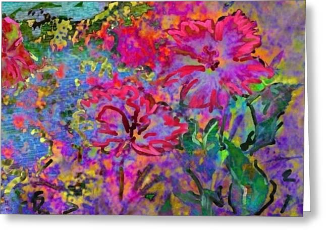 Impressionistic Magenta Hibiscus - Horizontal Greeting Card by Lyn Voytershark