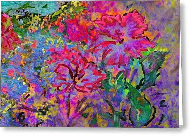 Splashy Greeting Cards - Impressionistic Magenta Hibiscus - Square Greeting Card by Lyn Voytershark