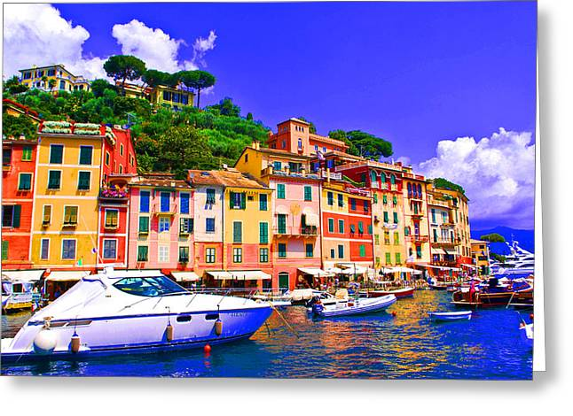 Portofino Italy Greeting Cards - Impressionistic photo paint GS 012 Greeting Card by Catf