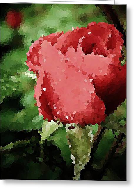 Dappled Light Greeting Cards - Impressionistic Rose Greeting Card by Chris Berry