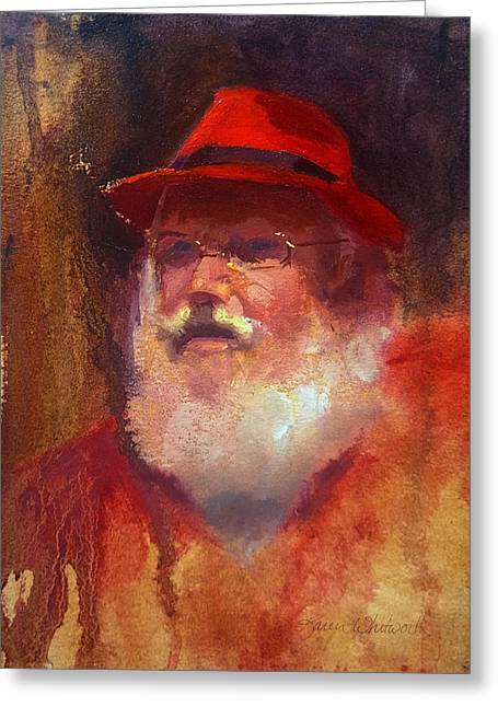 Christmas Greeting Greeting Cards - Impressionistic Santa with Rockin Red Fedora Greeting Card by Karen Whitworth