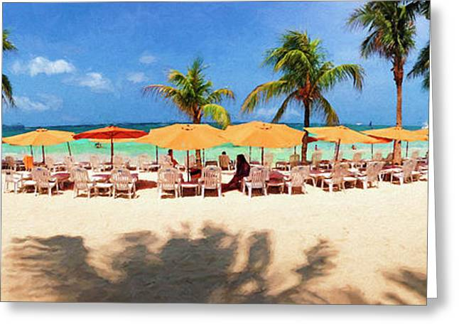Impressionistic View Of Tourists Greeting Card by Panoramic Images
