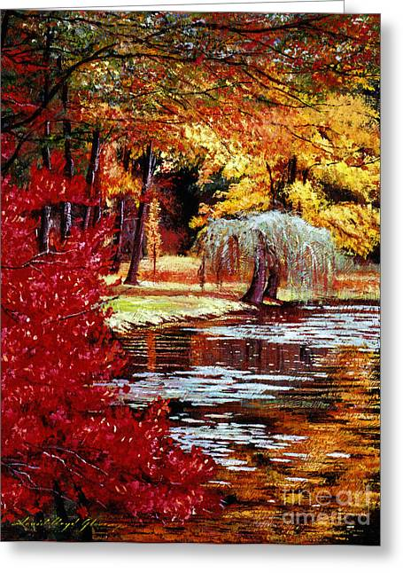 Tress Greeting Cards - Impressions in Red and Gold Greeting Card by David Lloyd Glover