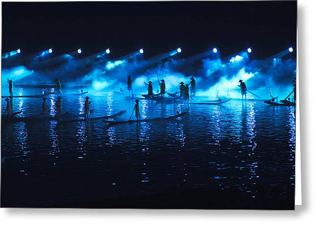 Light And Dark Greeting Cards - Impressions Light Show On The Li River Greeting Card by Keith Levit