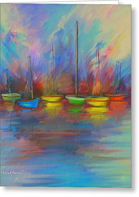 Yellow Sailboats Greeting Cards - Impressions of a Newport Beach Sunset Greeting Card by Angela A Stanton